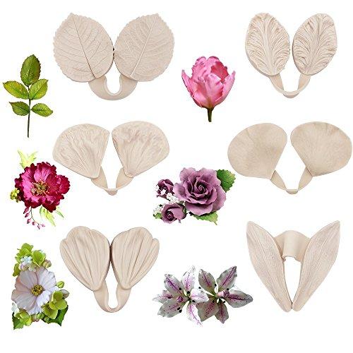 12pcs Gumpaste Flower Silicone Mold- Gum Paste Peony Flower Mold,Fondant Rose Veined Mold,Sugar Flower Cake Decorating Tool for Lily Calliopsis Tulip