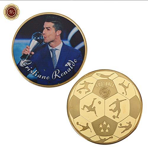 WR 1 oz 999 Moneda chapada en Oro de 24k Cristiano Ronaldo desafía el Arte de la artesanía en Metal, decoración de Monedas de Oro