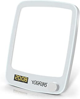Light Therapy Lamp, YCIGFUNS 10,000 LUX UV-Free LED Therapy Lamp, Happy Light with 20 Brightness Levels, Wake-up Light Alarm Clock & Snooze, Timer and Adjustable Stand for Home Office