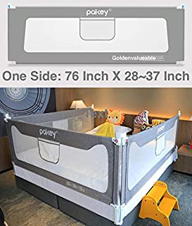 Goldenvalueable Vertical Collapsible Bed Rail Guard for Baby Toddlers and Kids (Grey) (One Side) (76 inch, Grey)