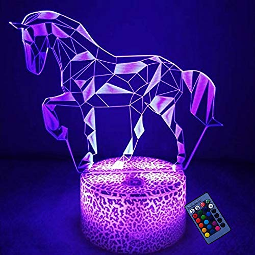 Creativo 3D Caballo Luz de Noche 16 Colores que Cambian Control Remoto USB Poder Touch Switch Ilusión óptica Decor Lámpara LED Mesa Lámpara Niños Juguetes Cumpleaños Navidad Regalo