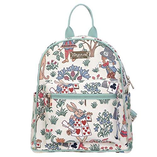 Damen-Mädchen Modische Daypack-Rucksäcke von Signare/Tapisserie Stylischer Bunt für Outdoor Sport/Alice in Wonderland Charles Voysey DAPK-Alice