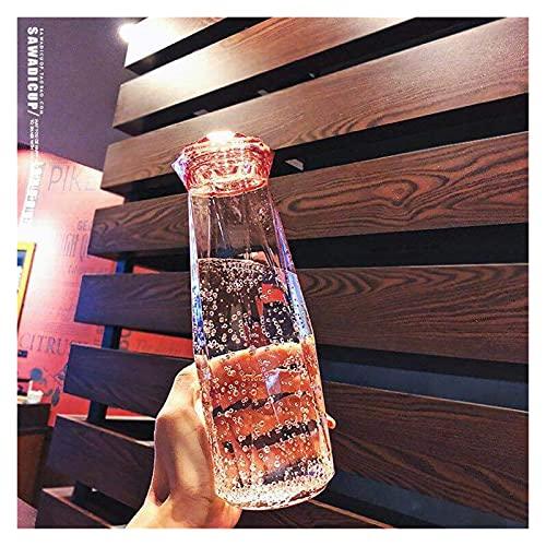 JSJJRFV Taza de Agua 500 ml Creatividad Botella de Agua de Vidrio Botella portátil Trata de tráfico Que Lleva para Beber la Taza de alumno al Aire Libre (Farbe : 1, Kapazität : 500ml)