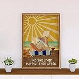 """Lienzo decorativo para pared, diseño con texto en inglés """"Happy Ever After Sunshine Libros y póster ..."""