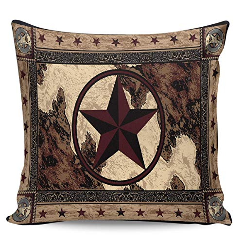 FARRELL Throw Pillow Covers Western Texas Pentagram on Wood Panel Rustic Vintage Style Short Plush Pillowcase Home Decor Cushion Case for Couch Sofa Bed