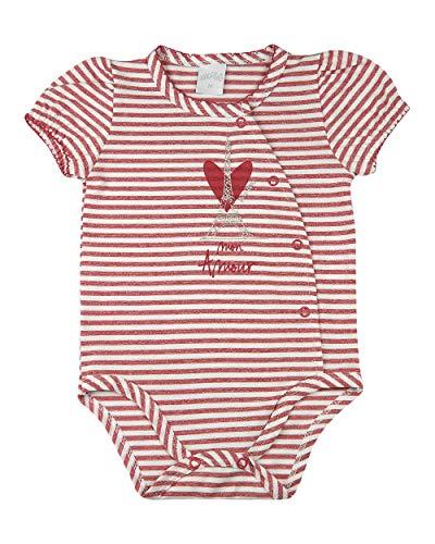 Body Bebê Malha Listrada Crisp Bordado Torre Eiffel Mon Amour - Vermelho 1