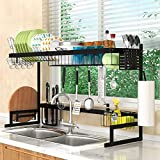 Over The Sink Dish Drying Rack Adjustable(21.7'-39.4'), 2 Tier Stainless Steel Large Dish Drainer, Dish Rack Over Sink for Kitchen Counter Organization Storage Space Saver with Utensils Holders