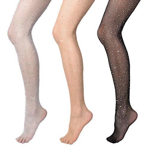 Vathery Damen Sexy Strumpfhose 3 Paar Strass Fischnetz Netzstrümpfe Hoher Taille Schwarz