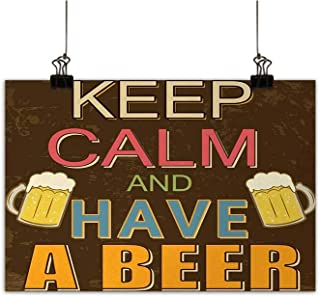 Anzhutwelve Keep Calm Simulation Oil Painting Have a Beer Vintage Poster Design with Foamy Glasses Cheers Old Pubs and Bars Decorative Painted Sofa Background Wall Multicolor 35