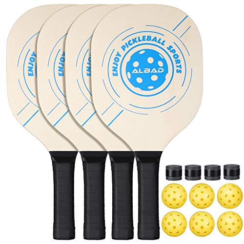 Pickleball Paddle Durable Bundle, Premium Pickleball Paddles 4 pack, Professional Indoor & Outdoor Pickleball Set, Lightweight Pickleball Racket with 4 Wood Paddles + 6 Yellow balls and 1 carrying bag