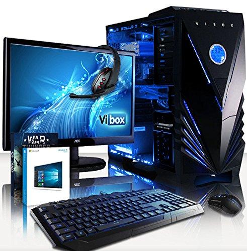 VIBOX Pegasus - Ordenador de sobremesa (Intel Core i7-4790, 32 GB de RAM, 3 TB de disco duro, NVIDIA GeForce GTX 980 de 6 GB, Windows 10) neon azul - Paquete con Monitor + Juego War Thunder