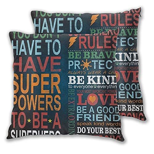 LONSANT Fundas de Cojines 60x60cm,Diseño de Cita de Regla de superhéroe Inspirador Negro,decoración Cuadrado Fundas de Almohada Funda de cojín para sofá Dormitorio,Pack de 2
