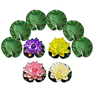 PIXHOTUL Artificial Floating Pond Decorations Water Floating Lotus Flowers and Lotus Leaves for Pond Decor