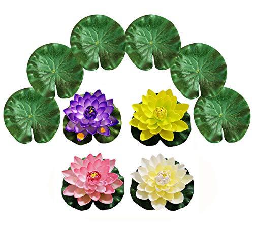 PIXHOTUL 10 Stück künstliche schwimmende Teichdekorationen Wasser schwimmende Lotusblumen und Lotusblätter für Teichdekoration (18 cm)