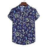 ZEZKT Camisa de Manga Corta Para Hombre, Estilo Hawaiano, ImpresióN Digital En IngléS, Tops, Camisetas Transpirables de Moda, Ocio En El Hogar, Caminar Al Aire Libre, Mangas Cortas (Azul, XL)