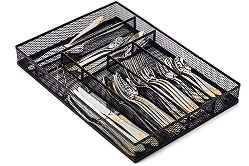 Halter Silverware Tray, Cutlery Tray, Flatware Tray Organizer, Steel Mesh Silverware Organizer, Kitchen Utensil Drawer Organizer with Non Slip Base, Cutlery Organizer in Drawer, Set of 2 (Large)