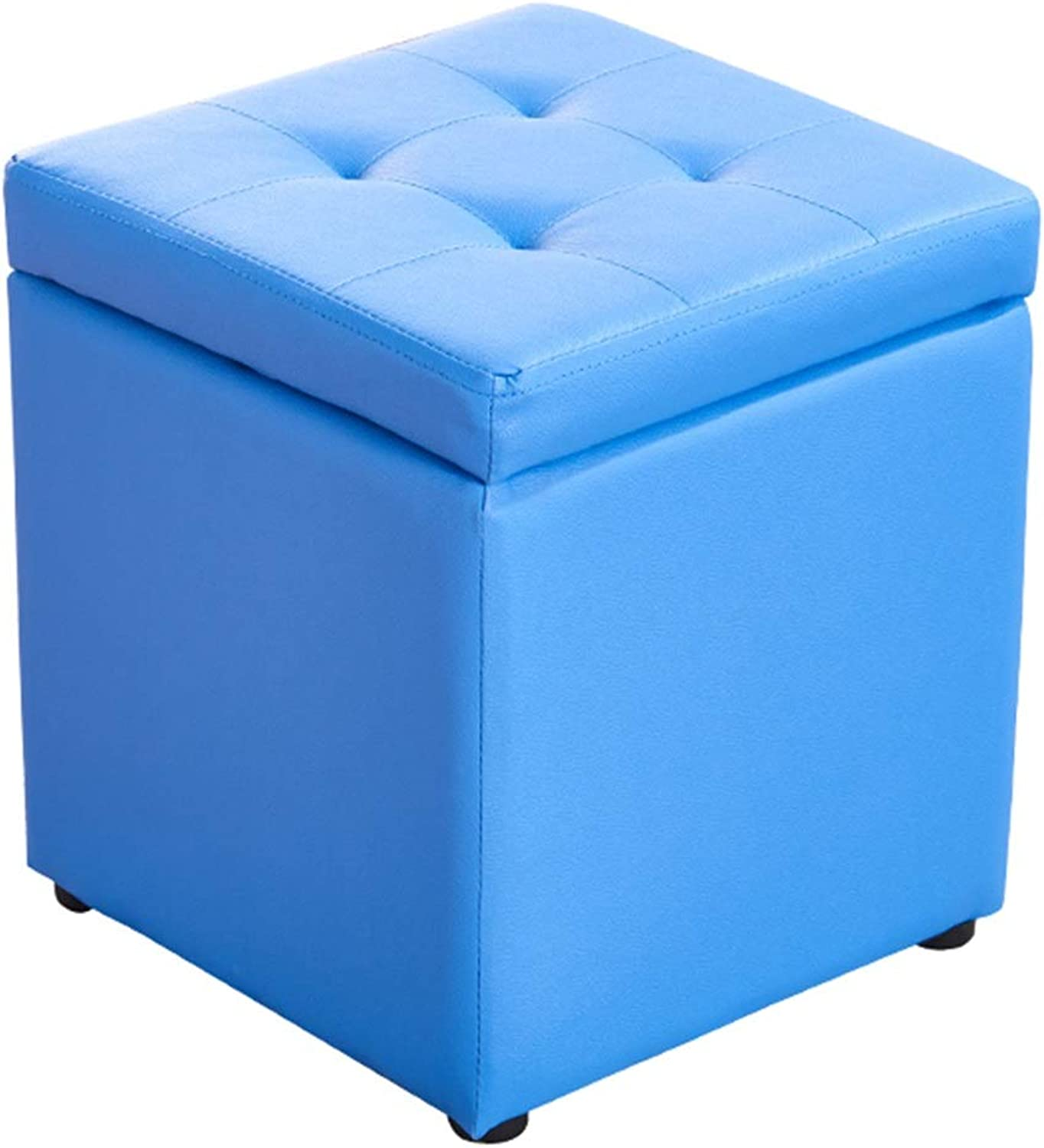 ZXQZ Stool Solid Wood Storage Leather Stool 40x40x40cm Home Storage Stool Sofa Footstool (color   bluee)