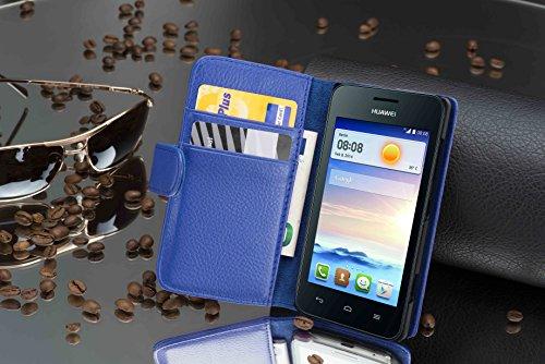 Cadorabo Hülle für Huawei Ascend Y330 - Hülle in KÖNIGS BLAU – Handyhülle mit Kartenfach aus struktriertem Kunstleder - Case Cover Schutzhülle Etui Tasche Book Klapp Style - 3