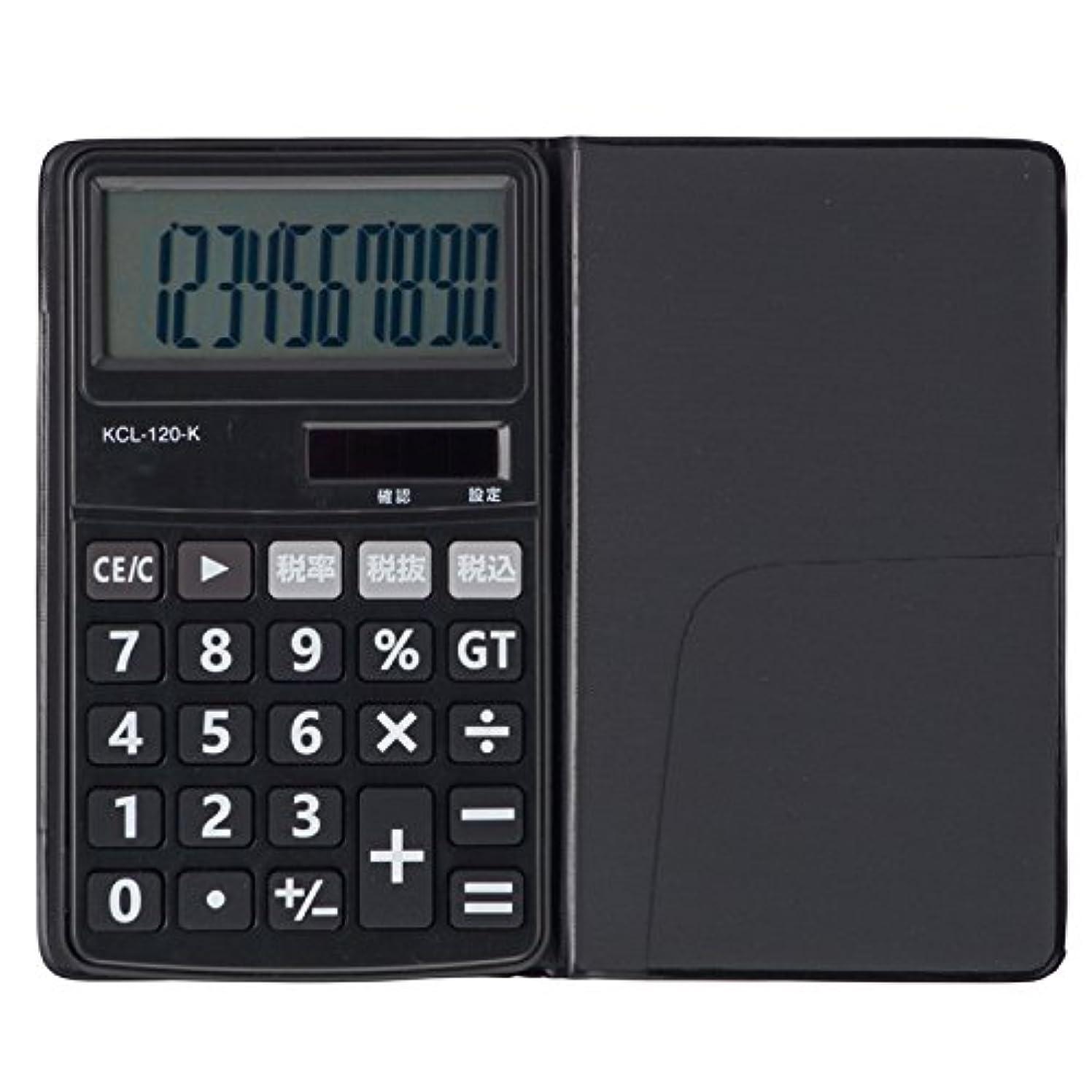 ブレーキ建築家ワークショップオーム電機 電卓 ソーラー 10桁 手帳サイズ 黒 ブラック KCL-120-K 07-9952