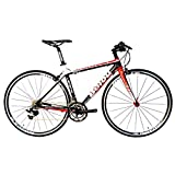 BEIOU 2016 Carbon Comfortable Bicycles 700C Road Bike LTWOO 210 Speed SRAM Brake Complete 18.3 lb Hybrid Bike Toray T800 Fiber CB0012B (White Red, 500mm with TIAGRA)