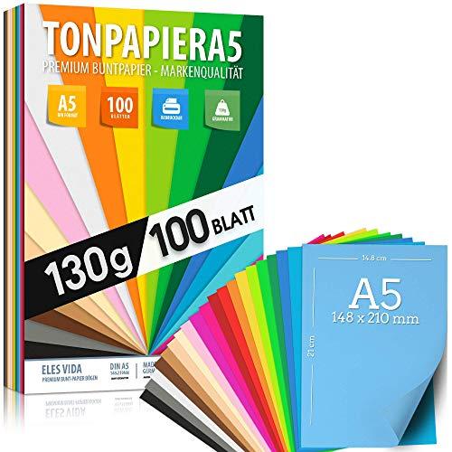 100 Blatt TONPAPIER - Buntes Papier DIN A5-130g/m² Set 20 Farben – Stabil Bastelpapier & Farbige Blätter, Kinder & DIY Bogen, Zubehör zum Basteln für Fotoalbum Geschenke zum Kreativ sein Bedruckbar