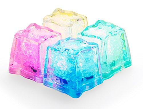 LED-Highlights 4er Set Deko Led Eiswürfel Leuchtend Blinkend Led Eis Würfel Bunt Gemischt Rot Blau Grün Gelb Leuchtende Eiswürfel Mehrweg - Batterie Wechselbar