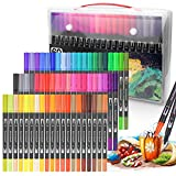 60 Colours Dual Tip Brush Pens Permanent Sketch Markers Fine liners & Brush...