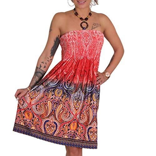A105 Sommer Bandeau Kleid Holz-Perlen Damen Strandkleid Tuchkleid Tuch Aztec (37 Rot)
