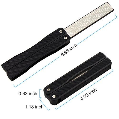 BonyTek 400/600 Grit Pocket Knife Sharpener Folding Diamond Knife Sharpener Double-Sided Sharpening Stone for Outdoor Camping Garden Kitchen (Black) (foldable)
