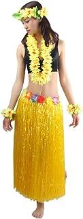 5pcs/ Set Women`s Hawaiian Luau Elastic Grass Hula Skirt 80cm
