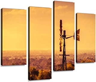 IGOONE 4 Panels Canvas Paintings - Windmill at Sunset in South Australia - Wall Art Modern Posters Framed Ready to Hang for Home Wall Decor