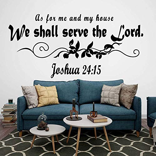 85x40cm,Wall Stickers for Bathroom,Wall Tattoo Art,As for Me and My House We Will Serve The Lord Bible Verse Jesus Words Door Background Christmas Murals Stickers Artwork Acrylic Living Room