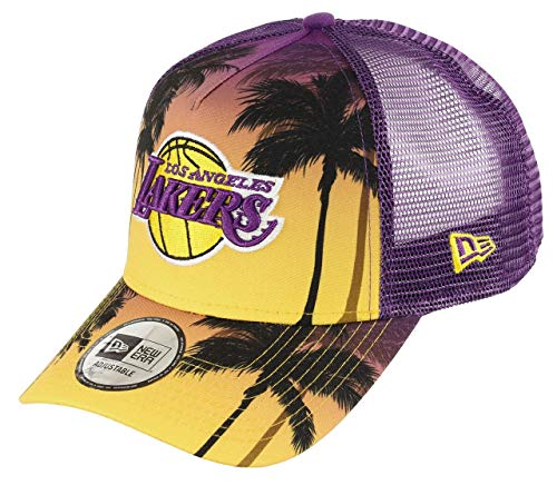 New Era Los Angeles Lakers Frame Adjustable Trucker Cap NBA Palm Tree Yellow/Purple - One-Size