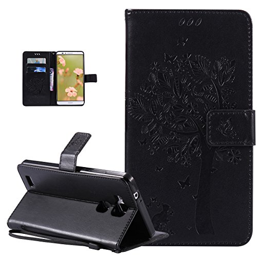 Huawei Ascend Mate 7 Case,Huawei Ascend Mate 7 Cover,Embossing Cat Butterfly Flower Tree PU Leather Fold Wallet Pouch Flip Stand Credit Card ID Holders Case Cover for Huawei Ascend Mate 7,Black