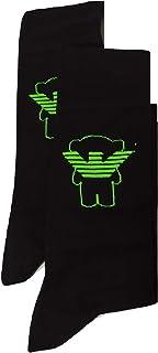 Emporio Armani, Bi-pack - Calcetines para hombre con logo EA negro