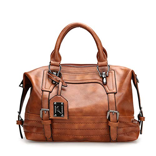 AlwaySky Damen Handtasche, weiche Umhängetasche aus PU-Leder, Vintage Totes Satchel Schulter Boston Tasche für die Arbeit einkaufen (braun)