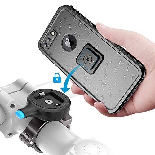 Sokusin Metall Fahrrad Halterung Handyhalter Motorrad,wasserdichte Fahrradhülle für iPhone 7 Plus/8 Plus,Aluminiumlegierung 1 Second Fahrradhalter,Motorrad Lenker Halterung (für iPhone 7 Plus/8 Plus)