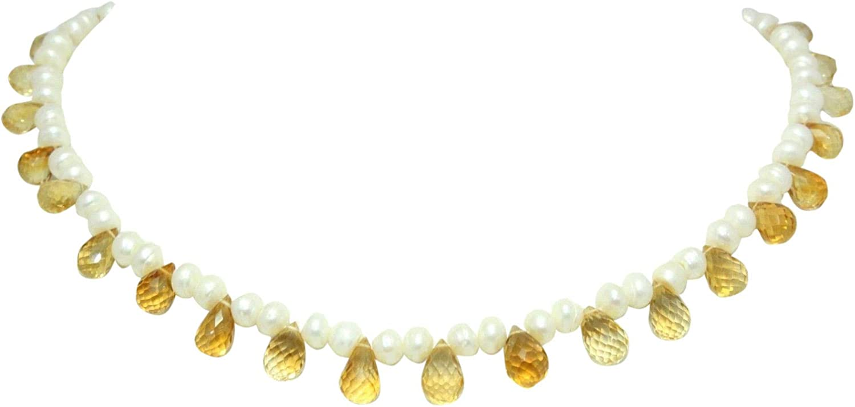 Rajasthan Gems Beautiful Natural Semi Precious Golden Topaz Drops, Pearls Beads Necklace Strand