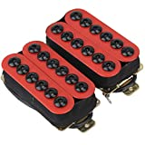 Yibuy One Pair Red Metal Pickups for Electric Guitar with Ceramic Magnets & Umbrella-head Screws