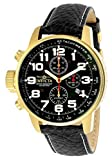 Invicta Men's I-Force Gold Tone Stainless Steel Quartz Watch with Black Leather Strap, Black (Model: 3330)
