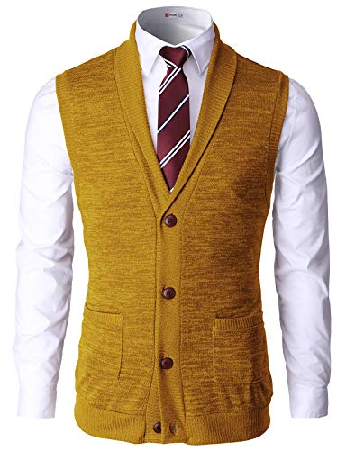 H2H Men Fashion Basic Shawl Collar Knitted Slim Line Vest Mustard US M/Asia L (CMOV034)