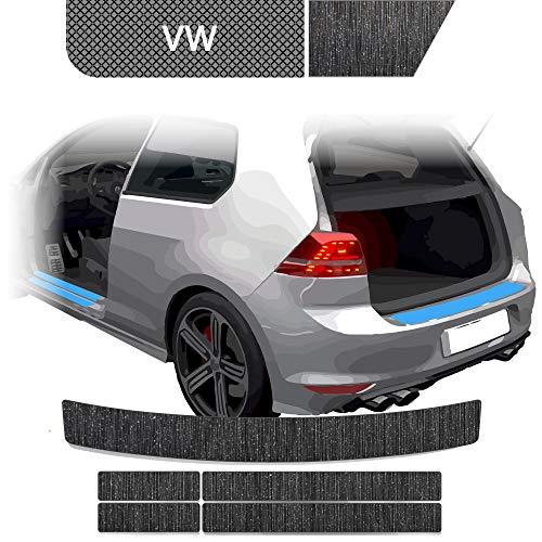 BLACKSHELL Ladekantenschutz + Einstiegsleisten Set inkl. Premium Rakel für Golf 7 Variant Typ AU Alu gebürstet Schwarz - passgenaue Lackschutzfolie, Auto Schutzfolie