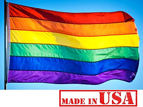 US Flag Factory - 3x5 FT Rainbow Flag (Pole Sleeve, Individually Sewn Stripes) Outdoor SolarMax Nylon - Premium Quality - Made in USA - Gay Pride Lesbian LGBT (3x5 FT (Pole Sleeve))