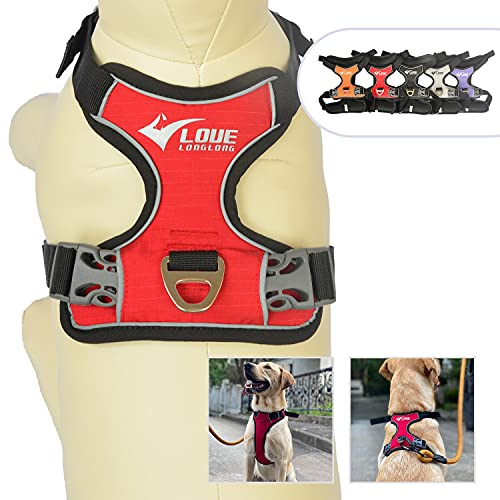No Pull Dog Harness with Safety Reflective Logo, Adjustable Dog Vest Harness Soft Sponge Padded Pet Vest with Front Leash Clip for Small Medium Large Dogs Red L
