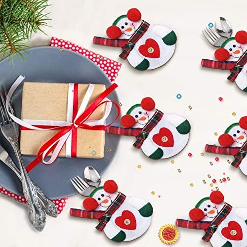 Sunshine smile 12 Piezas Bolsa de Cubiertos de Navidad,Cubiertos Tenedores Bolsas,Decoración Navidad Mesa,Cuchillos Tenedores Bolsa,Funda de,Decoraciones para Mesa Bolsita Navidad (D1)