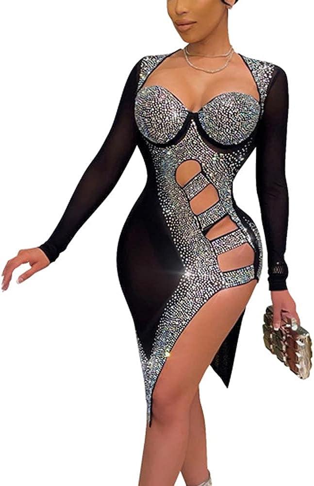 Womens Sexy Spaghetti Strap Sleeveless Rhinestone Bodycon Mesh Midi Dress Club Outfits