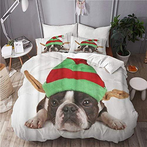 Easy Care - Juego de funda nrdica de 3 piezas y 2 fundas de almohada, Elf Boston Terrier con sombrero de Navidad en las orejas, disfraz de perro, animal, elegante y lujosa funda de edredn de microfi