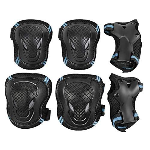 ZONSUSE Juego de Equipos de protección para Adultos, Rodilleras para Adultos 6 Juegos de Accesorios de Bicicleta Protectores Patines de Ruedas Patinaje sobre Bicicletas (Negro Azul, L)