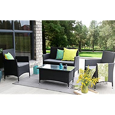 Baner Garden (N68) 4 Pieces Outdoor Furniture Complete Patio Wicker Rattan Garden Set, Full, Black