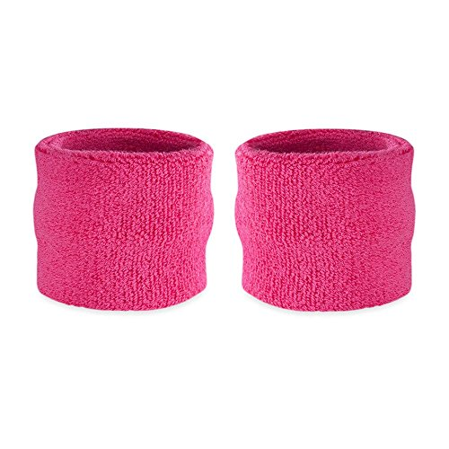 Suddora Kids Wrist Sweatbands - Athletic Cotton Terry Cloth Sports Wristbands for Kids (Pair) (Neon Pink)